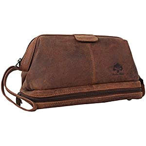 Genuine Leather Travel Toiletry Bag – Hygiene Organizer Dopp Kit By Rustic Town (Brown)