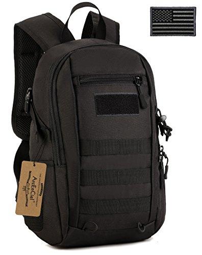 ArcEnCiel Kids Tactical Backpack Military MOLLE Daypack Gear Assault Pack School Camping Bag (Black)