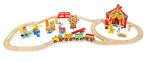 - Wooden Train Set Toy Magnetic Trains Cars & Accessories Toddlers & Kids 3+ Circus Train Set