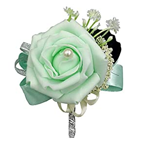 MerryJuly Boutonniere Bridegroom Groom Men's Boutonniere Boutineer with Pin for Wedding, Prom, Homecoming Artificial Foam Flower 30
