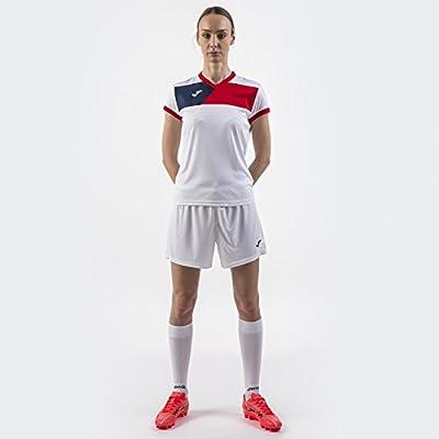Joma Camiseta Crew II M/C Blanco-Rojo Mujer - Camiseta técnica de ...