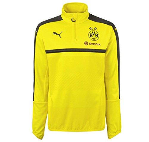Puma Borussia Dortmund FC 2016/17 1/4 Zip Training Top - Adult - Cyber Yellow/Black - Large