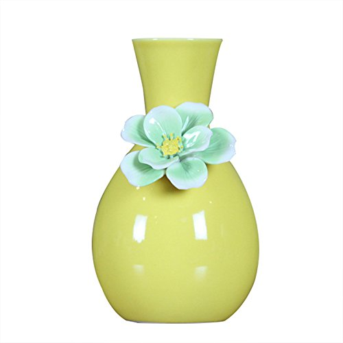 Chinese Style Exquisite Ceramic White Black Tabletop Vase Home Decoration vase Fashion Porcelain Flower Vase Decorative Vases Kangsanli (yellow) (Porcelain Flower Vase)