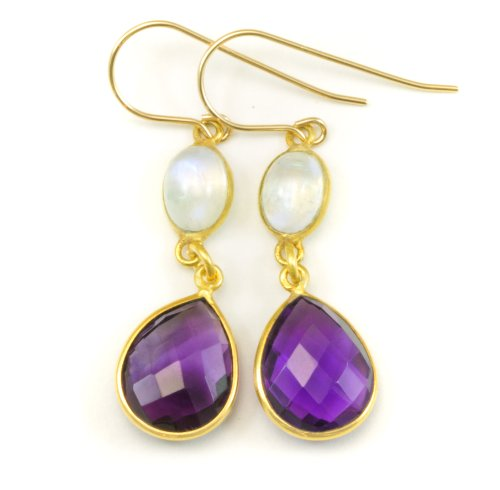 Amethyst Gold Tone Earrings - 14k Gold Filled Simulated Purple Amethyst Blue Moonstone Earrings Goldtone Bezeled Double Hung