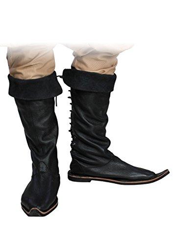 Moyen-âge Bottes en cuir véritable Chaussures LARP et jeu de rôle Noir