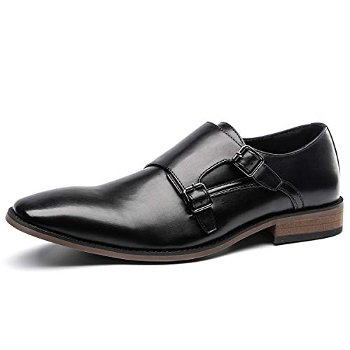 (Men's Double Monk Strap Dress Shoes Slip on Oxford Shoes Classic Modern Square Toe Dress Loafer Black Size 10.5)