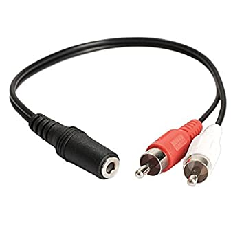 Cable de audio adaptador, conector hembra estéreo de 3,5 mm a 2 jack RCA macho, audio auxiliar: Amazon.es: Electrónica