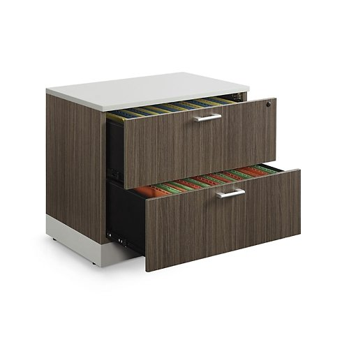 Esquire 31.5''W Two Drawer Lateral File Driftwood Laminate/Silver Laminate Kickplate and Hardware