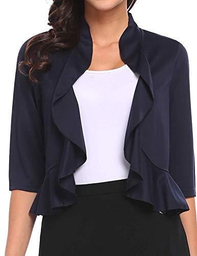 Women's 3/4 Sleeve Cropped Bolero Shrug Open Front Cardigan (Blue, X-Large)