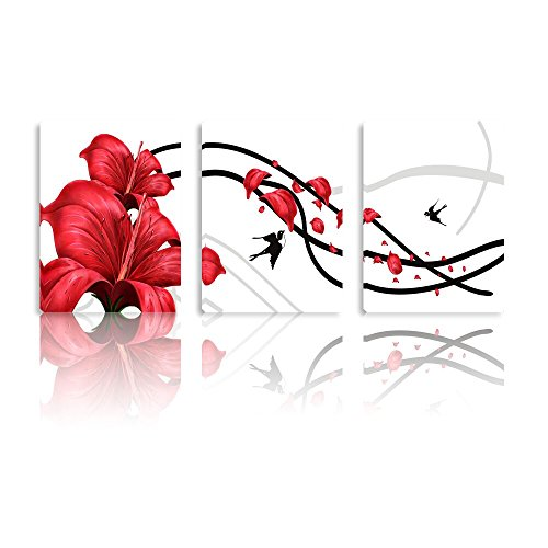 """Price comparison product image Canvas Paintings Botanical Red Flower Printing Canvas Wall Arts Framed Ready To Hang Wall Decor on Canvas 16"""" x 36"""" By Smarten"""