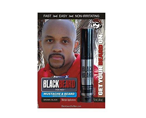 Blackbeard for Men Formula X - Instant Brush-on Beard & Mustache Color - 1-pack (Brown/Black) (Henna Hair Dye For African American Hair)