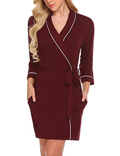 Ekouaer Spa Robe Womens Lightweight Kimono Bathrobe Modal Cotton Short Nightgown (Dark Red,L)