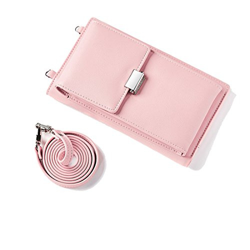 Women Crossbody Shoulder Bags Small Leather Wallet Purse Smartphone Pocket Teengirls Card Case Holder Large Capacity Palepink ()