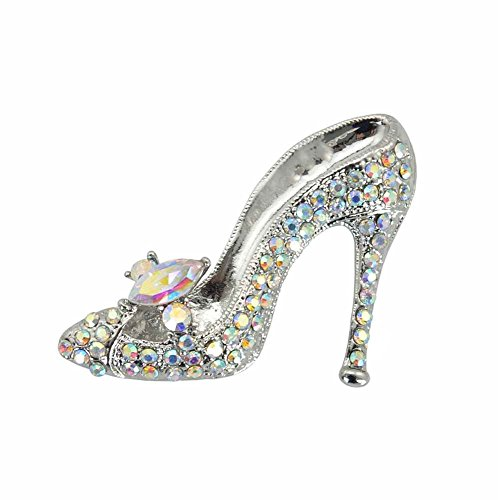 TTjewelry Fashion Style High-Heel Shoe Rhinestone Crystal Brooch Pin (White AB Silver-tone)