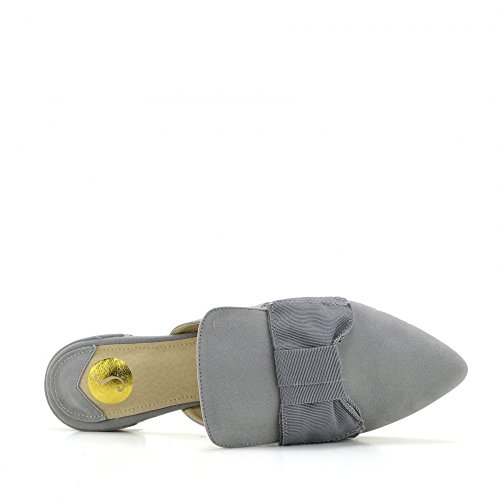 Kick Footwear Women's Yellow Velvet Point Slipper Shoes Casual Mules Pointed Flat Slippers Grey azrclxAc