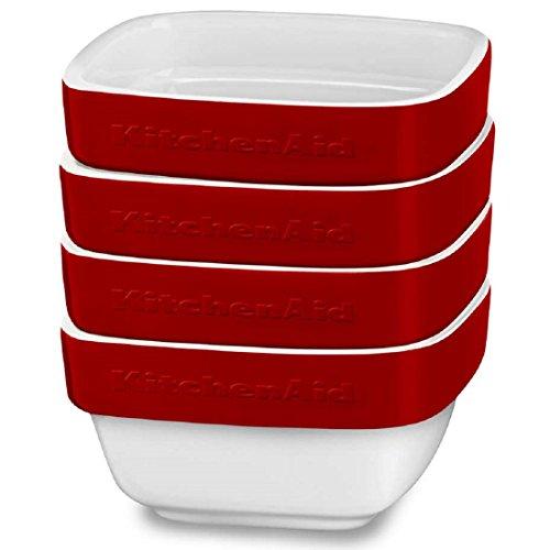 KitchenAid 4 Pack Streamline Ceramic 8 oz Dish Ceramic Bakeware Set, Crème Brule, Soufflé Flan Serveware by KitchenAid