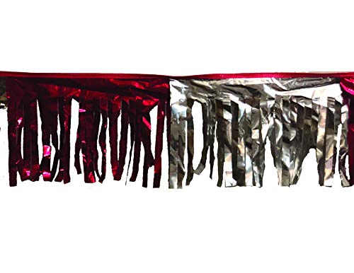 60 ft Double-Stitched RED/Silver Hurricane Metallic Fringe Pennant Long Lasting