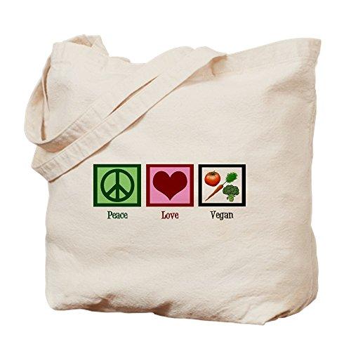CafePress - Peace Love Vegan - Natural Canvas Tote Bag, Cloth Shopping Bag