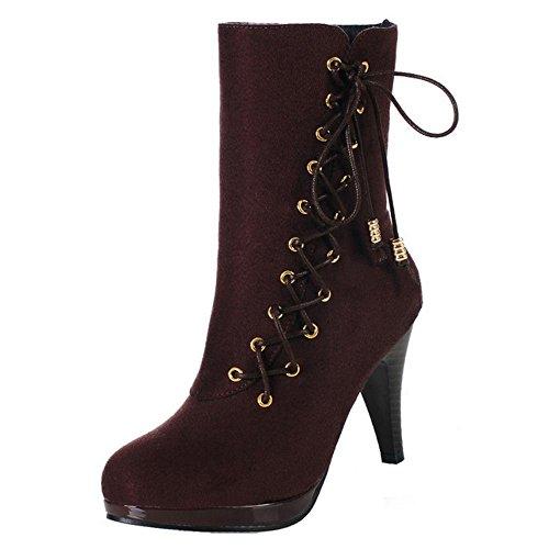 Autumn Brown Women Zipper Boots COOLCEPT pZfq5wOOa