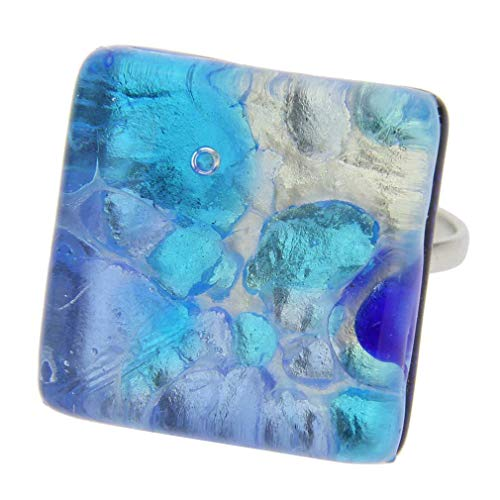 - GlassOfVenice Murano Glass Venetian Reflections Ring - Square with Adjustable Band