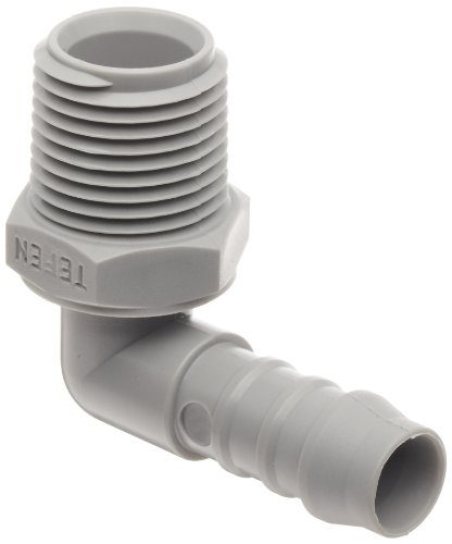 - Tefen Nylon 66 Hose Fitting, 90 Degree Elbow Adapter, Gray, 1/2