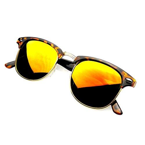 Emblem Eyewear - Premium Half Frame Horn Rimmed Sunglasses Metal Rivets (Flash Mirror | Tortoise Red, - Rimmed Red Tortoise