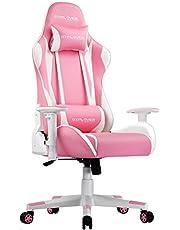 GTPLAYER Gaming Stoel Bureaustoel Gamer Ergonomische Stoel Verstelbare in Hoogte Verstelbare Gamerstoel met Ergonomisch Ontwerp (Roze-Wit)
