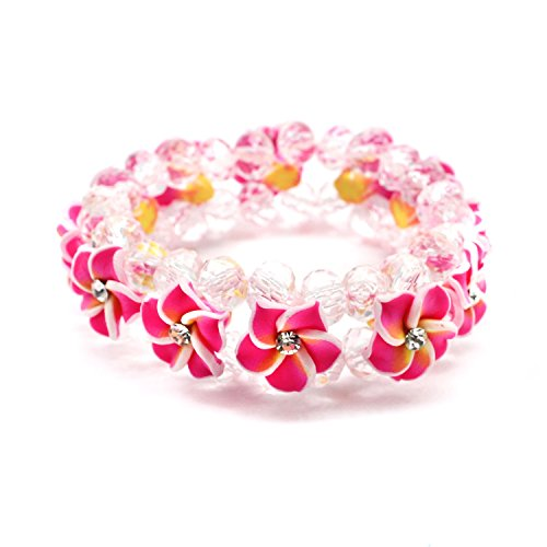 (Hawaii FIMO Vibrant Stretch Plumeria CZ Luau Bracelet in Hot Pink)