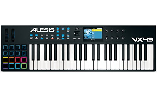 Alesis VX49 | 49-Key USB MIDI Keyboard & Drum Pad Controller with Full-Color Screen (8 Drum Pads+8 Switch Pads / 8 Knobs)