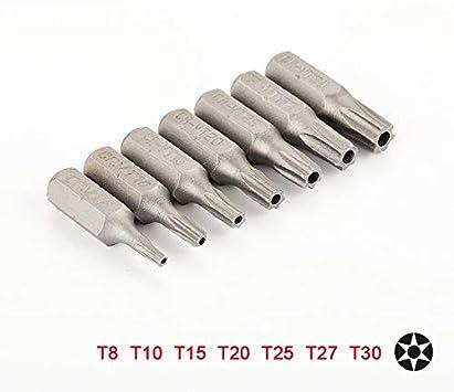 7 Piezas De Destornillador Torx De 25 Mm Con Orificio T8 T10 T15 ...
