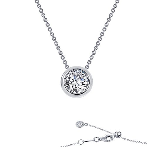 Lafonn Monte Carlo Sterling Silver Platinum Plated Simulated Diamond Necklace (0.71 CTTW)
