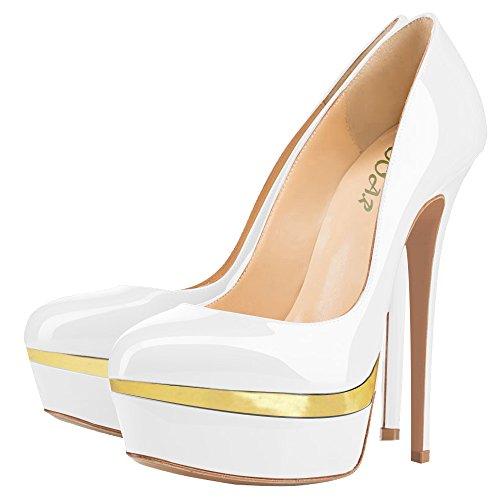 AOOAR Womens Double Platform High Heel Pumps White & Gold yvTsrq7y