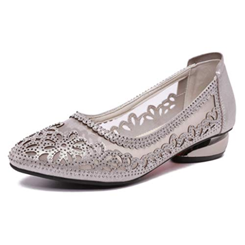 Women Round Toe Slip on Low Heel Crystal Comfortable Office Dress Loafers Shoes