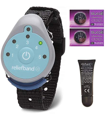 Reliefband for Motion and Morning Sickness Bundle with Replacement Conductivity Gel Tube 7.5ml, and 2 Blucoil CR2025 Batteries