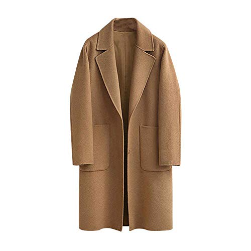 Women Loose Wool Coat Single Breasted Overcoat Female Office Lady Woolen Coat,Camel,L