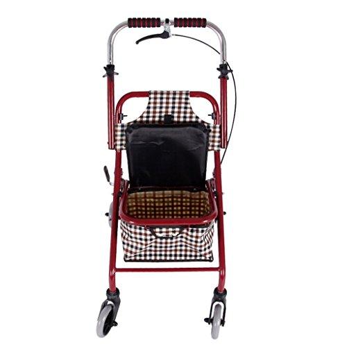 Carro de Carrito de Compras de Anciano Carro de Compras Plegable Carro pequeño Puede Sentarse Andador de caña Ligero de...