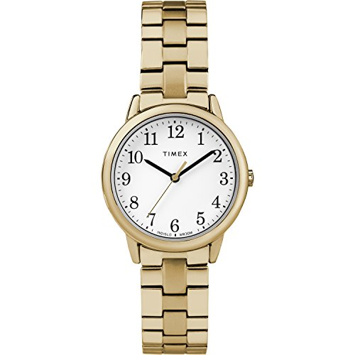 Timex Women's TW2R58900 Easy Reader 31mm Gold-Tone Stainless Steel Expansion Band Watch ()