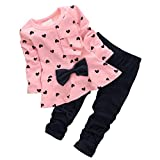 CHIC-CHIC 2pcs Baby Girl kids Clothing Set Long Sleeve Bowknot T-shirt Top + Pants Trousers Leggings Outfit (3-4 years old, Pink)