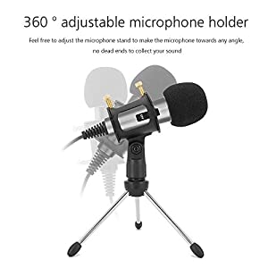 Professional Condenser Microphone, Plug &Play Home Studio microphones for iphone Android Recording PC Computer Laptop Podcasting Mini Desktop MIC Stand dual-layer acoustic filter by XIAOKOA