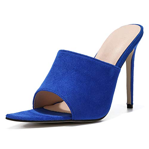 LIURUIJIA Women's Crossdressing Sandals Slide Stiletto High Heels Plus Size blue-41