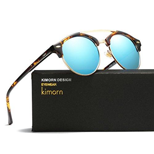 Carey amp;azul kimorn Sol AE0504 Polarizado Unisex Diseño Gemelas Retro Rimless Gafas Vigas Semi De xf7TxCRWwq