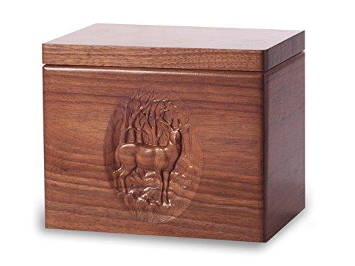 Cremation Urn - Standard Oak Wood with Black Walnut Stain - Deer - Cremation Wood Urn Oak