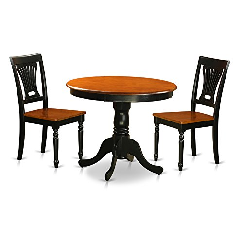 East West Furniture ANPL3-BLK-W 3 Piece with 2 Wooden Chairs Antique Dining Set
