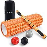 TOMSHOO Foam Roller 5 in 1 Fitness Set, High Density Muscle Roller with Massage Ball for Deep Tissue Massage I