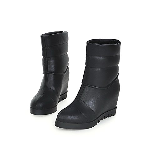 1TO9 Closure Boots No MNS02180 Round Black Boots Womens Wedges Toe Fashion Urethane ZqrZOwx