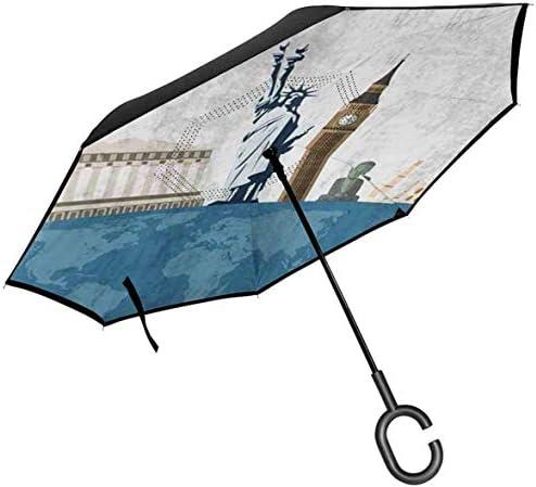 旅行有名な世界のランドマークのアイコン ユニセックス二重層防水ストレート傘車逆折りたたみ傘C形ハンドル付き