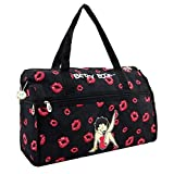 Betty Boop Large Duffel Bag, Durable Microfiber (Color: black, Tamaño: Large)
