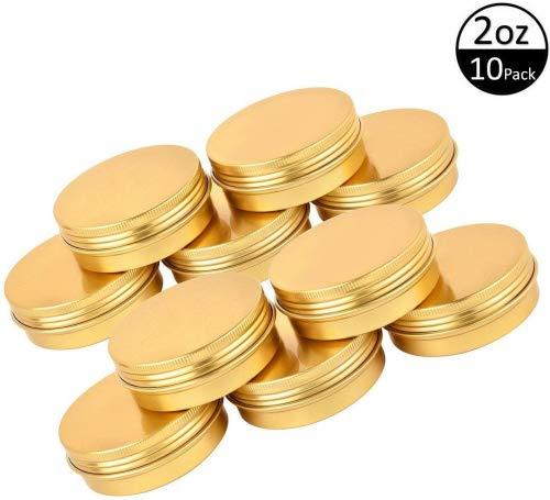 TMO 2oz 60G Aluminum Tin Jars Screw Top Metal Tin Cans Round Jars Bulk Food Tins Aluminum Tin Containers Candle Travel Tins Cosmetic Jar Container(Gold,10 Pack)