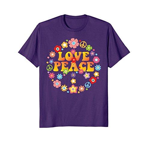 Groovy Love Peace Sign (Mens PEACE SIGN LOVE T Shirt 60s 70s Tie Die Hippie Costume Shirt XL Purple)