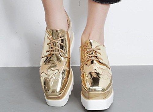 Casual 40 Xdgg Loose Femmes 2017 Unique Épaisses Chaussures Talon Gold wrWrgqaUn